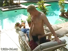 Blond jock gags on a humongous piece of man meat